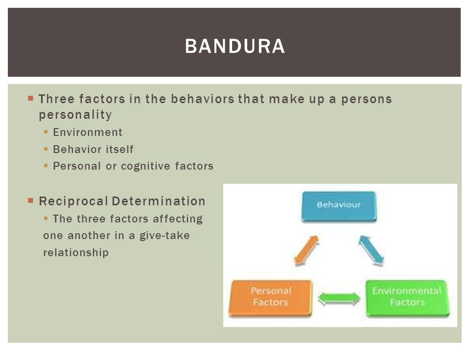 Bandura Three factors in the behaviors that make up a persons personality. Environment. Behavior itself.