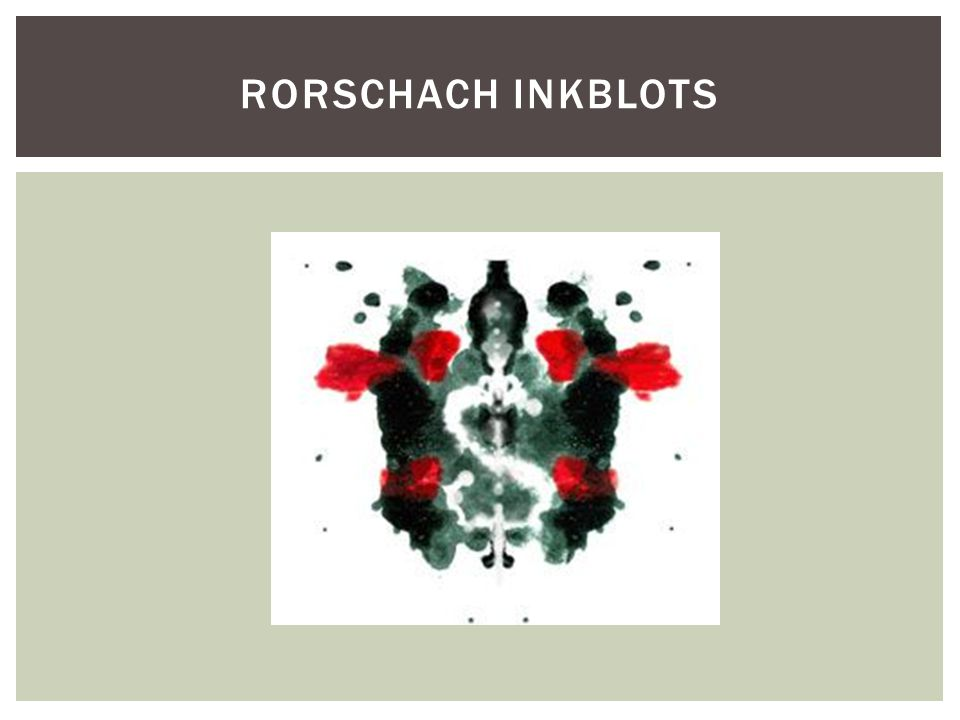 Rorschach inkblots Another ink blot with a little face in the center - it s important not to focus on the face.