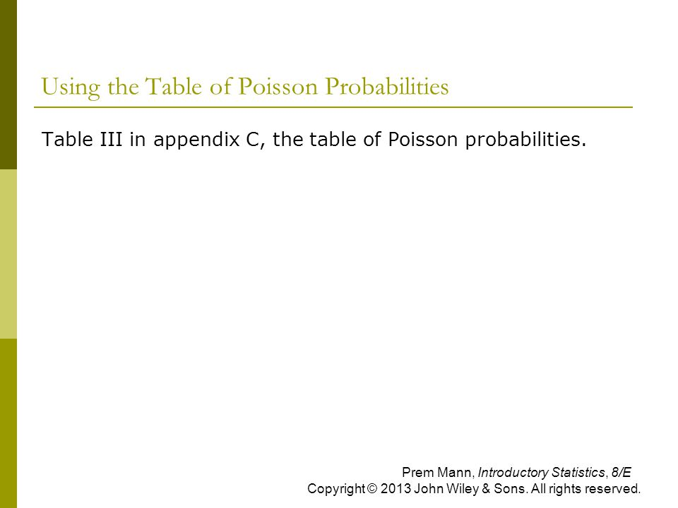 Using the Table of Poisson Probabilities
