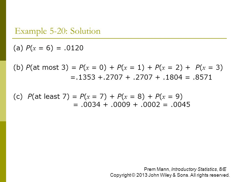 Example 5-20: Solution (a) P(x = 6) = .0120