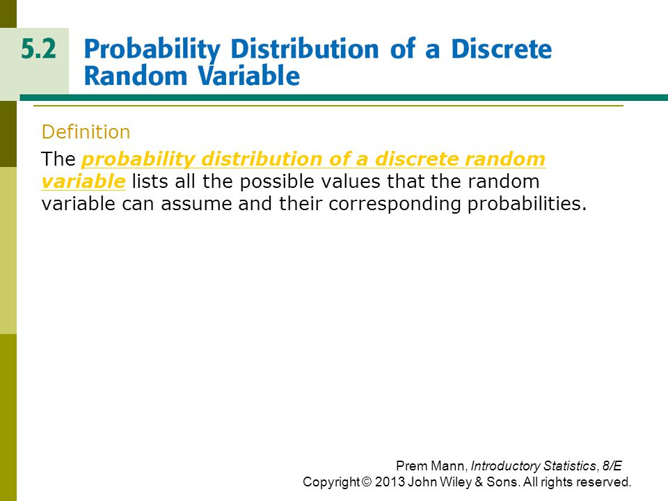 PROBABLITY DISTRIBUTION OF A DISCRETE RANDOM VARIABLE