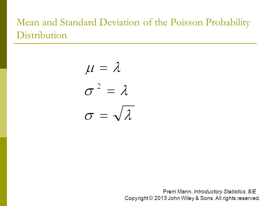 Mean and Standard Deviation of the Poisson Probability Distribution