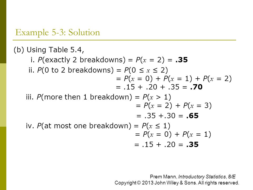 Example 5-3: Solution (b) Using Table 5.4,