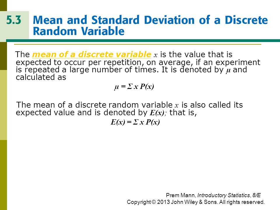 MEAN AMD STANDARD DEVIATION OF A DISCRETE RANDOM VARIABLE