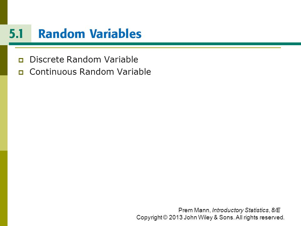RANDOM VARIABLES Discrete Random Variable Continuous Random Variable