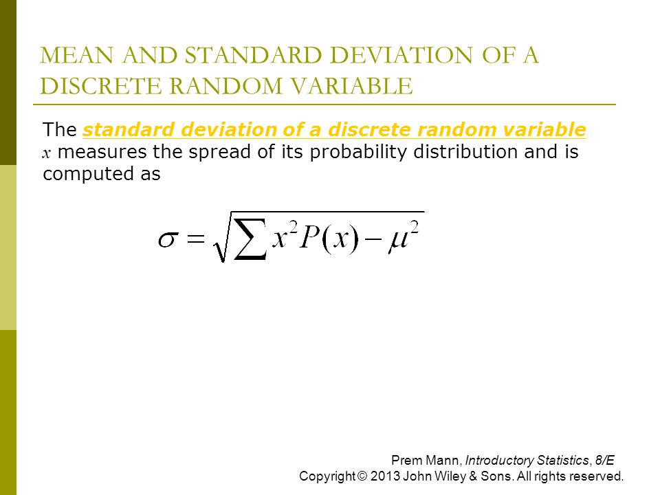 MEAN AND STANDARD DEVIATION OF A DISCRETE RANDOM VARIABLE