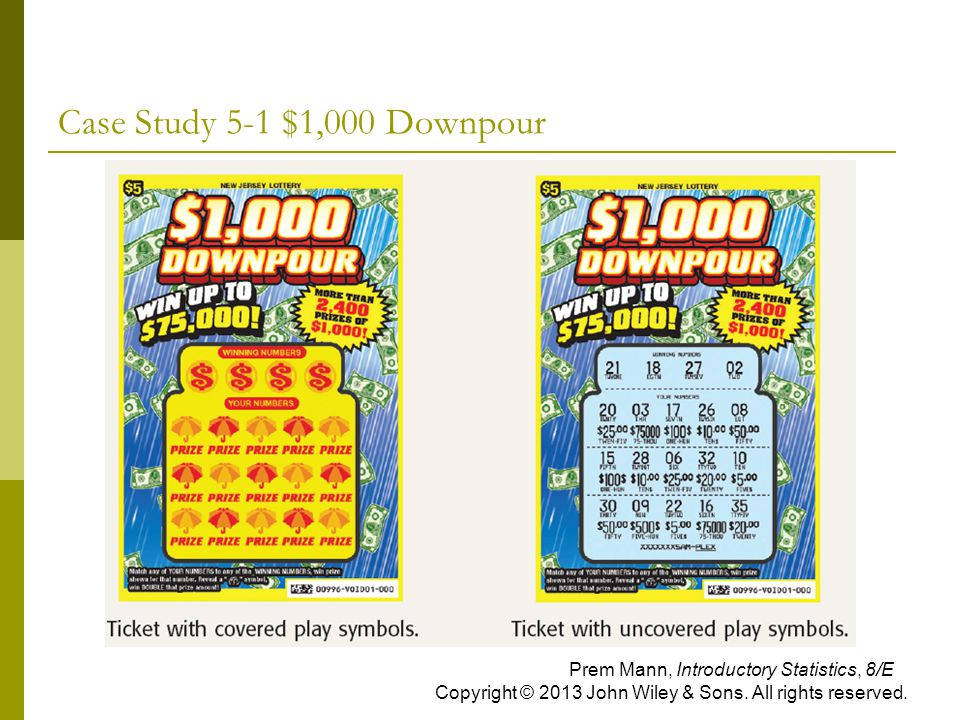 Case Study 5-1 $1,000 Downpour Prem Mann, Introductory Statistics, 8/E Copyright © 2013 John Wiley & Sons.