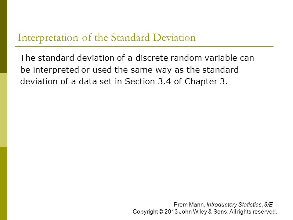 Interpretation of the Standard Deviation