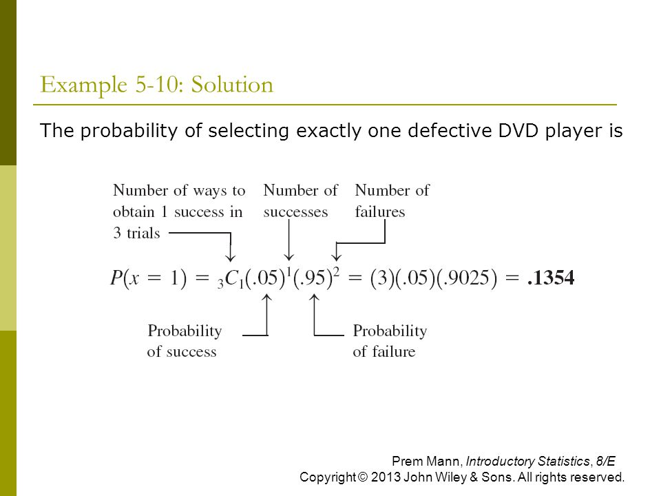 Example 5-10: Solution The probability of selecting exactly one defective DVD player is.