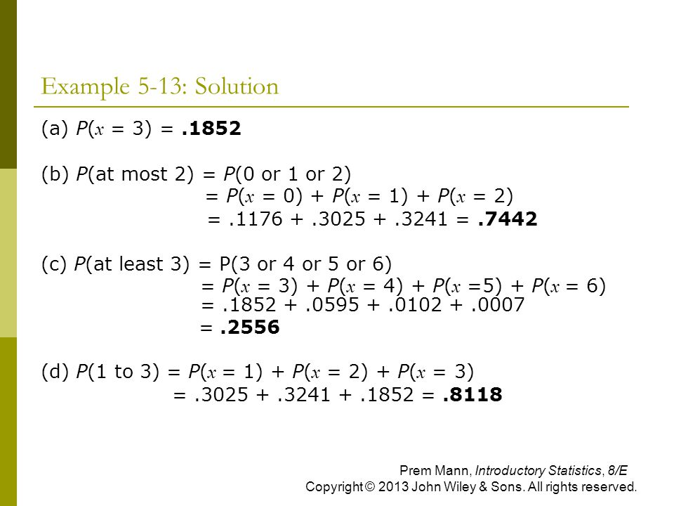 Example 5-13: Solution (a) P(x = 3) = .1852
