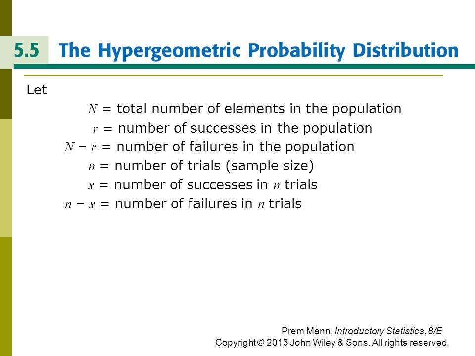 THE HYPERGEOMETRIC PROBABILITY