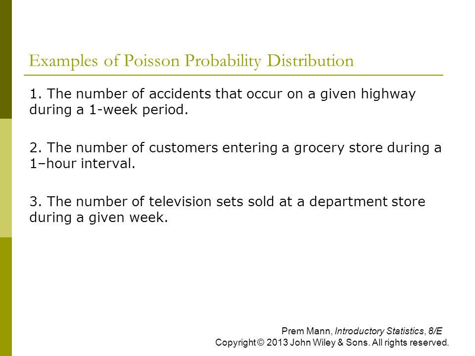 Examples of Poisson Probability Distribution