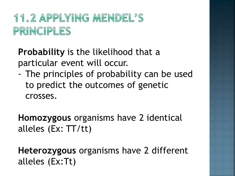 11.2 Applying Mendel's Principles