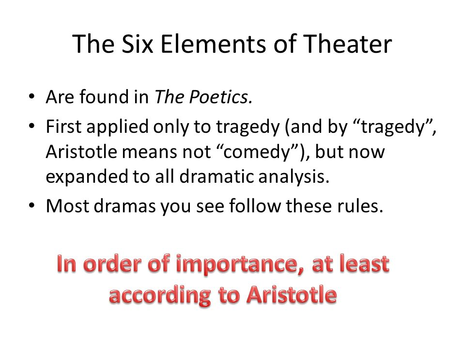 The Six Elements of Theater