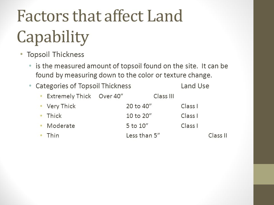 Factors that affect Land Capability