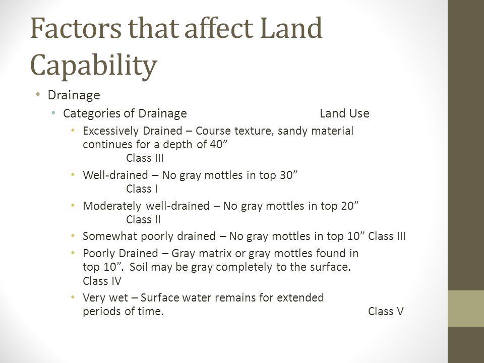 Factors that affect Land Capability