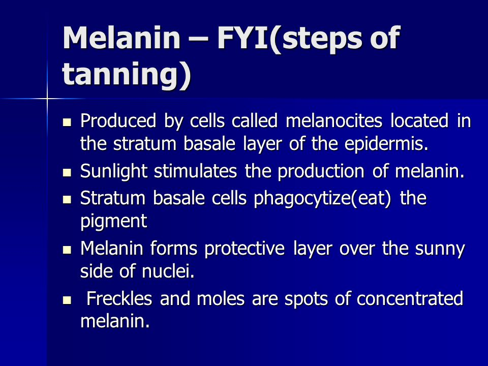 Melanin – FYI(steps of tanning)