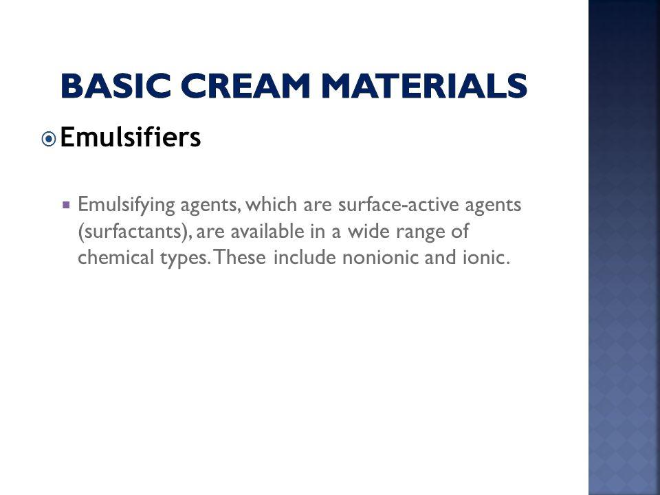 Basic cream Materials Emulsifiers