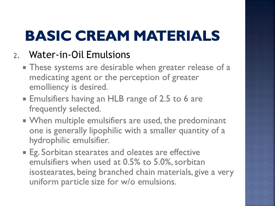 Basic cream Materials Water-in-Oil Emulsions