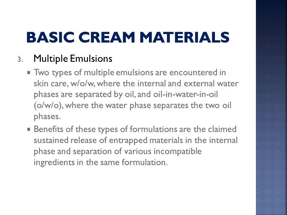 Basic cream Materials Multiple Emulsions