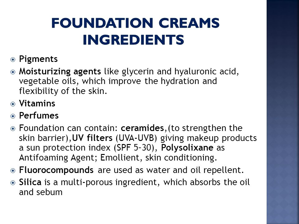 foundation creams ingredients