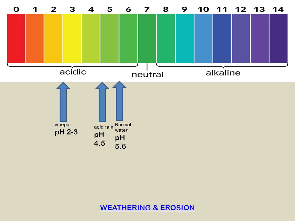 pH 2-3 pH 4.5 pH 5.6 WEATHERING & EROSION vinegar Normal water
