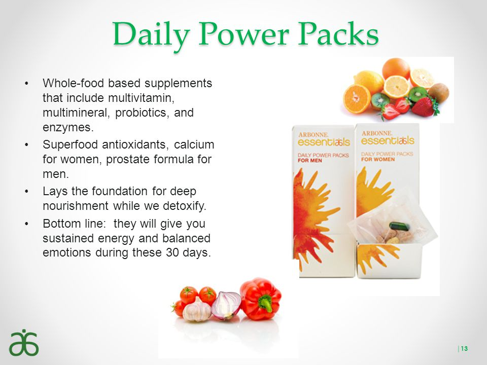 Daily Power Packs Whole-food based supplements that include multivitamin, multimineral, probiotics, and enzymes.