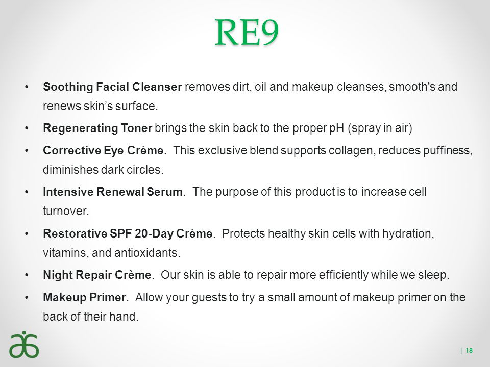 RE9 Soothing Facial Cleanser removes dirt, oil and makeup cleanses, smooth s and renews skin's surface.