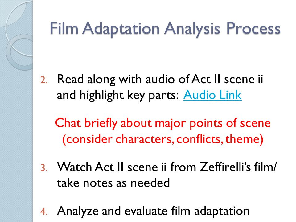 Film Adaptation Analysis Process
