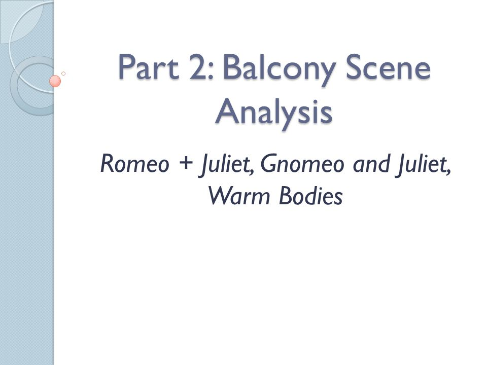 Part 2: Balcony Scene Analysis