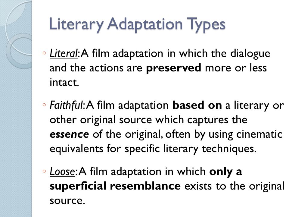 Literary Adaptation Types