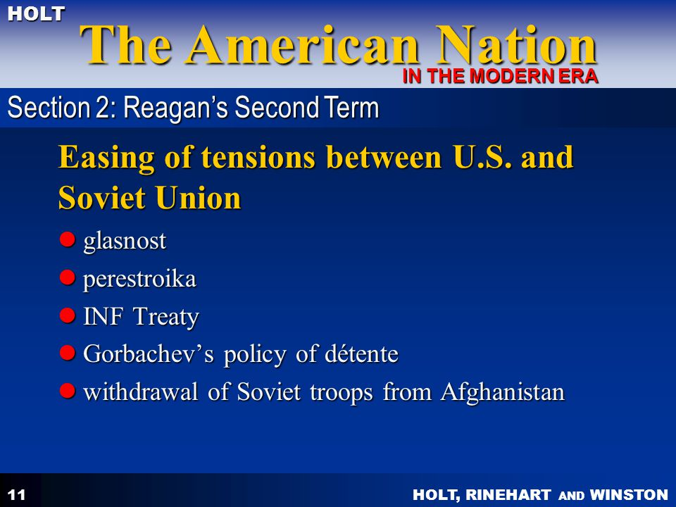 Easing of tensions between U.S. and Soviet Union