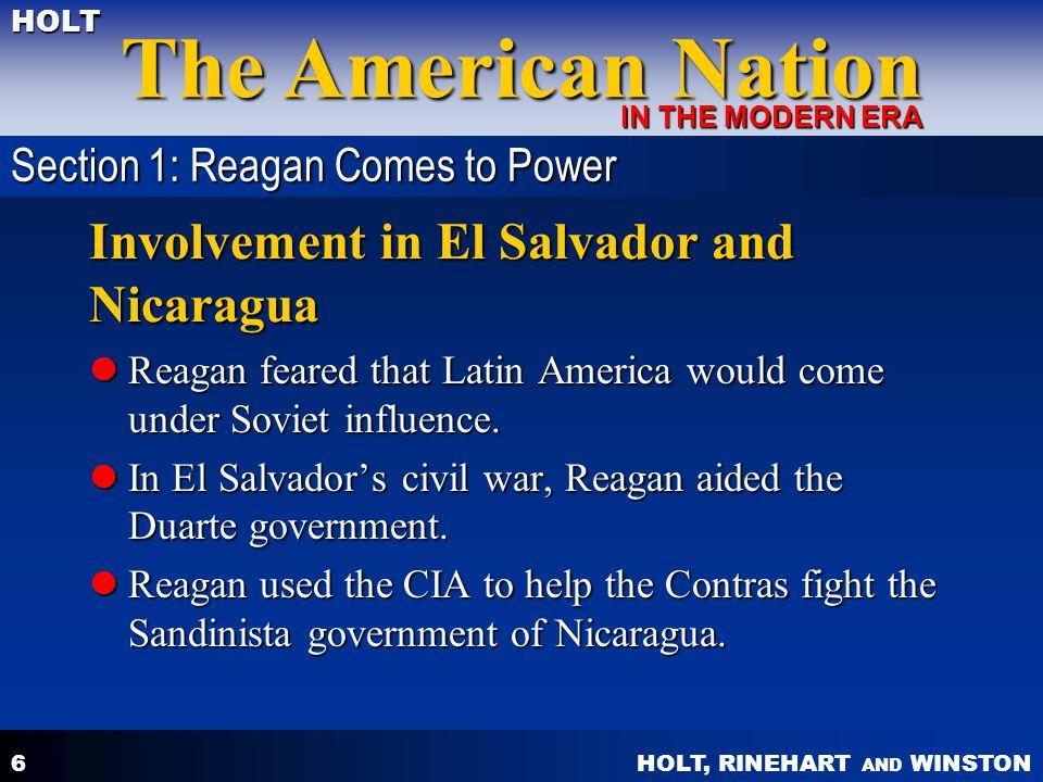 Involvement in El Salvador and Nicaragua