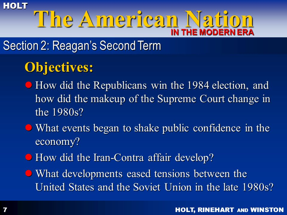 Objectives: Section 2: Reagan's Second Term