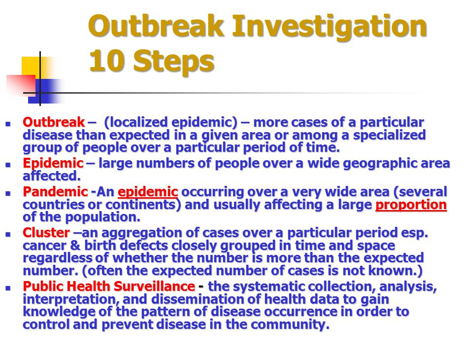 Outbreak Investigation 10 Steps
