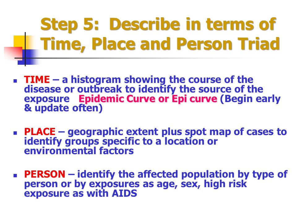 Step 5: Describe in terms of Time, Place and Person Triad