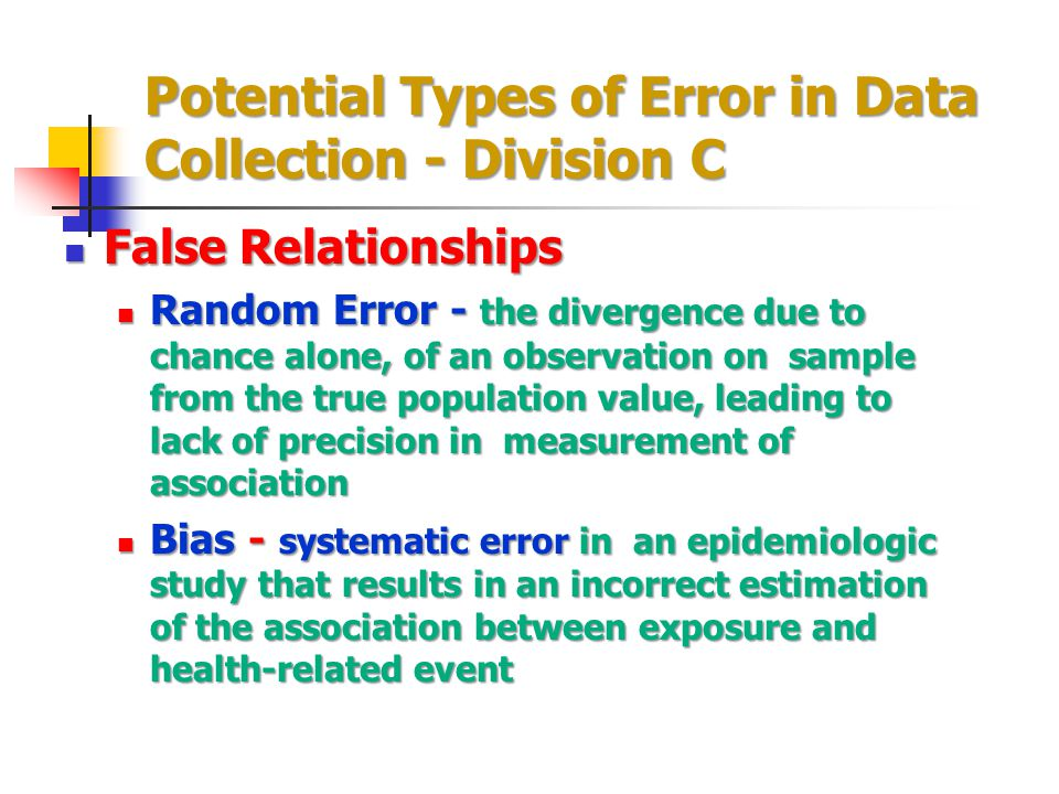Potential Types of Error in Data Collection - Division C