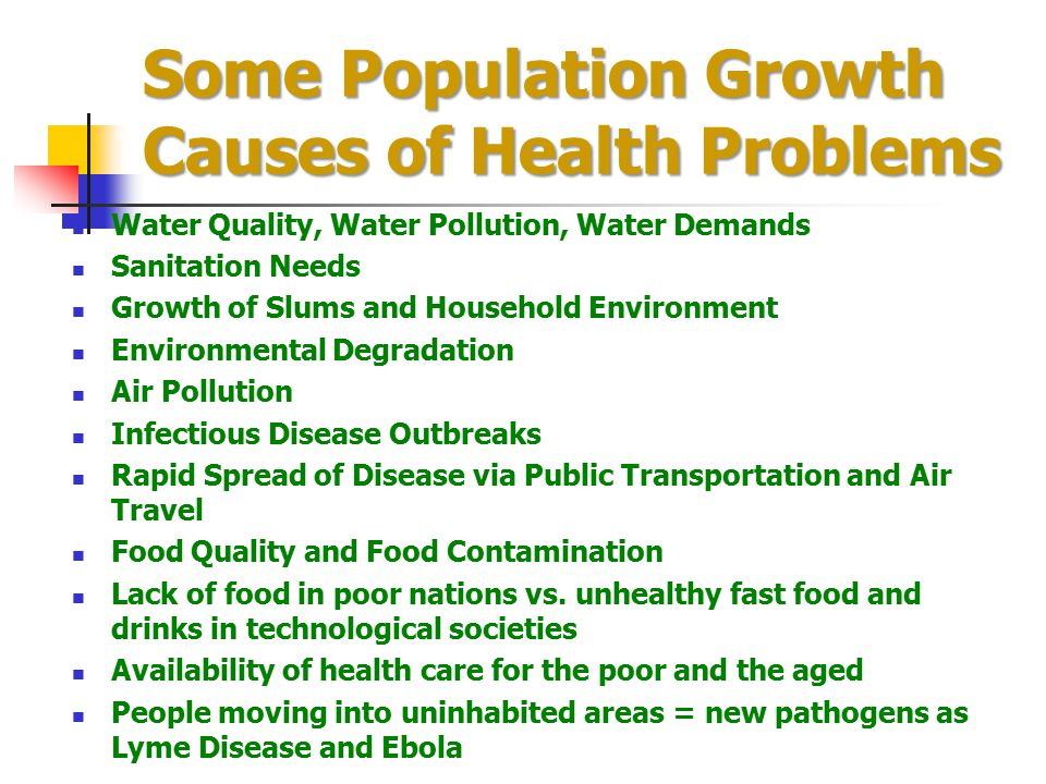Some Population Growth Causes of Health Problems