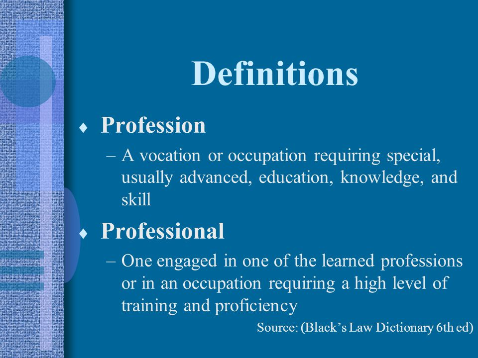 Definitions Profession Professional
