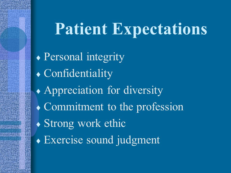 Patient Expectations Personal integrity Confidentiality