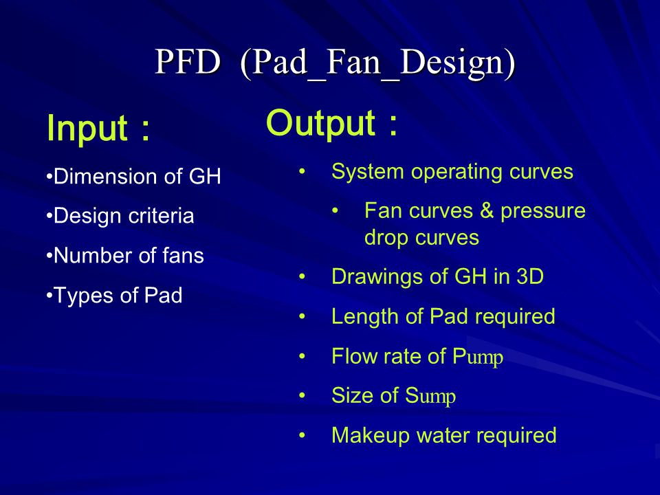 PFD (Pad_Fan_Design) Output: Input: System operating curves