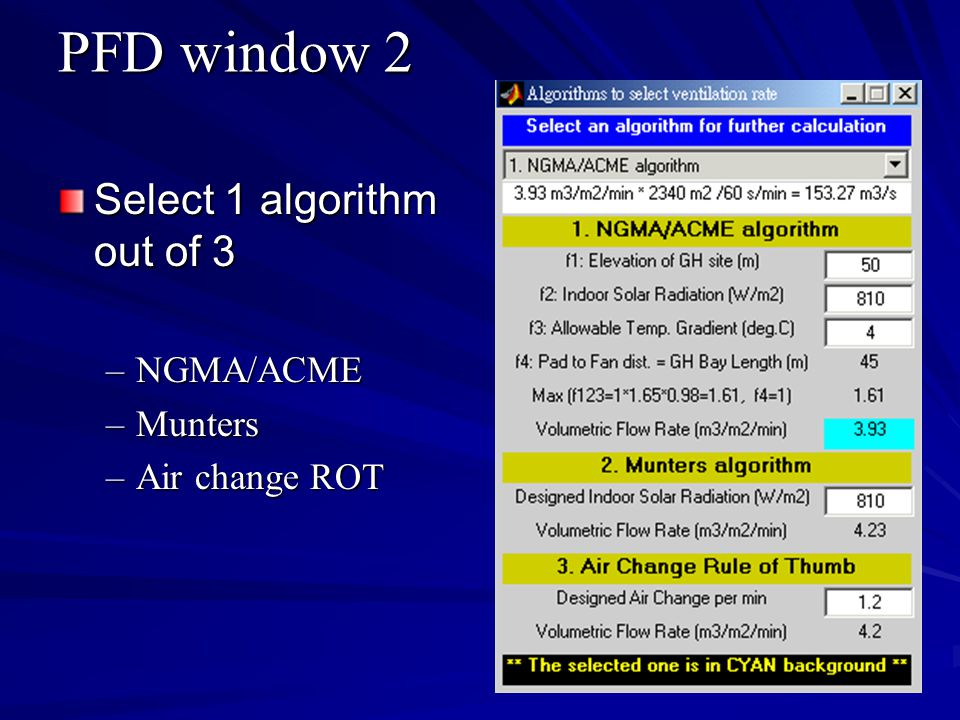 PFD window 2 Select 1 algorithm out of 3 NGMA/ACME Munters