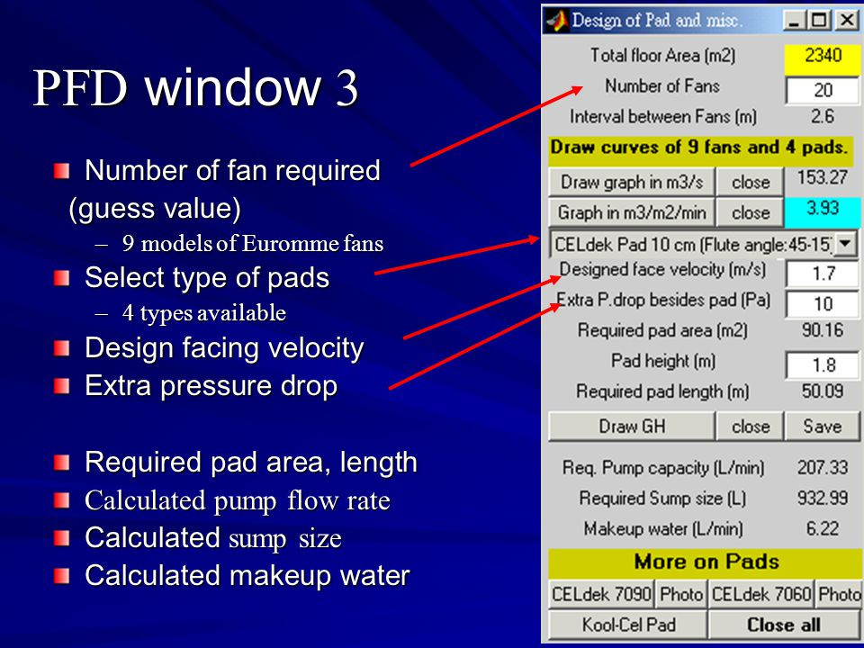 PFD window 3 Number of fan required (guess value) Select type of pads