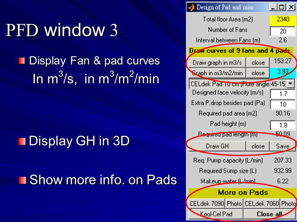 PFD window 3 In m3/s, in m3/m2/min Display GH in 3D