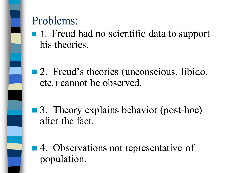 Problems: 1. Freud had no scientific data to support his theories. 2. Freud's theories (unconscious, libido, etc.) cannot be observed.