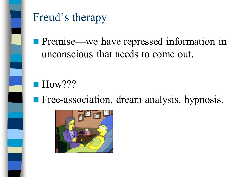 Freud's therapy Premise—we have repressed information in unconscious that needs to come out. How