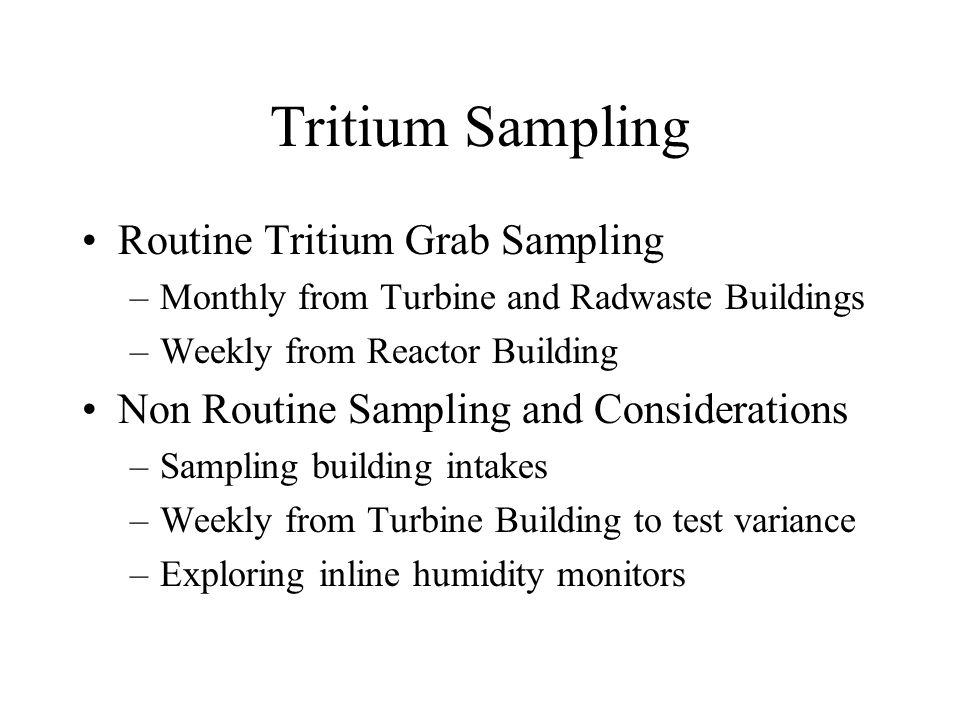 Tritium Sampling Routine Tritium Grab Sampling