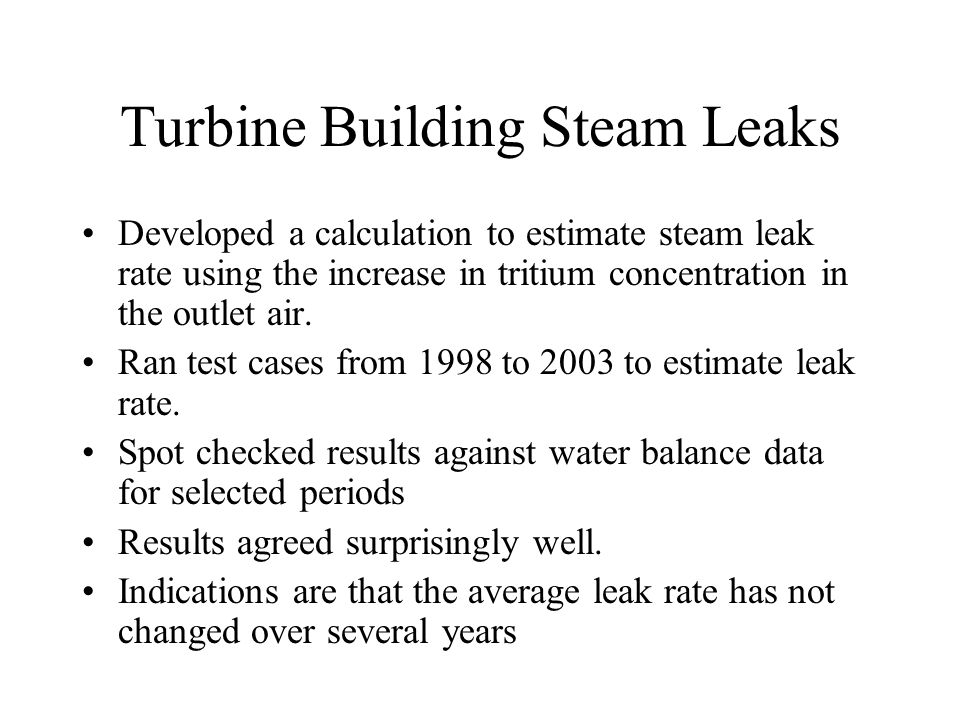 Turbine Building Steam Leaks