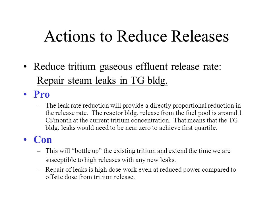 Actions to Reduce Releases