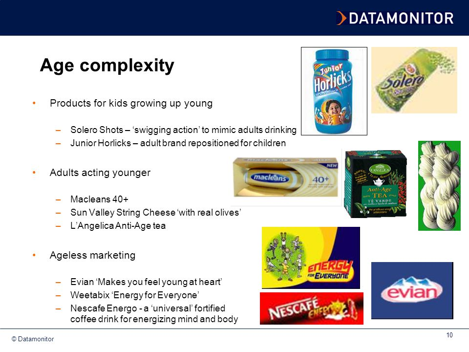 Age complexity Products for kids growing up young